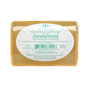 AA Skincare Sandalwood Clear Vegetable Glycerin Soap 125g Single